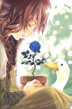 when her grandmother died she was left alone but for the geese. but grandmother had left her one special thing her rare blue rose anytime the girl saw it it reminded her of happy times with grandmother and helped her to continue living. happily in peace (and thats the pictures story).