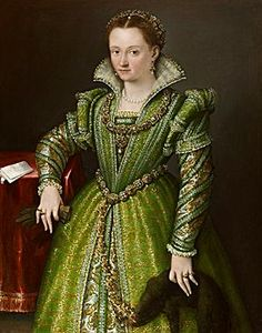 Lavinia FONTANA - Portrait of Laura Gonzaga in Green. Love the look, laces (bobbin?) and trimmings, although I'd do it in a different color. Want to know what time frame this would be appropriate for.