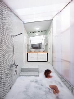 "of Would by Elii Architecture Office Pretty awesome bathtub/shower! ""House of Would by Elii Architecture Office""Pretty awesome bathtub/shower! ""House of Would by Elii Architecture Office"" Bad Inspiration, Bathroom Inspiration, Bathroom Ideas, Bathtub Ideas, Bathroom Hacks, Bathroom Styling, Bathroom Organization, Bathroom Storage, Minimal Bathroom"