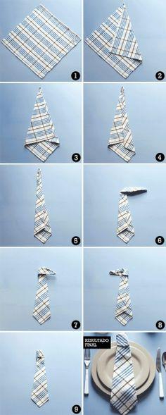 Dia dos pais. Día del padre servilletas dobladas en forma de corbata.