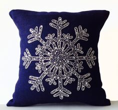 Silver Sequin Pillow -Snowflake -Navy Blue Pillows -Burlap Pillow case-Throw Pillows -Decorative Pillow  Snow Pillows -16x16 -Gift by AmoreBeaute on Etsy https://www.etsy.com/listing/206001747/silver-sequin-pillow-snowflake-navy-blue