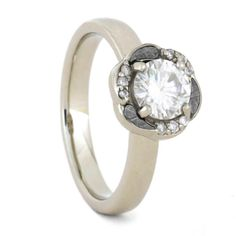Engagement Ring, Moissanite in 10k White Gold Ring, Meteorite Ring for Women-3376