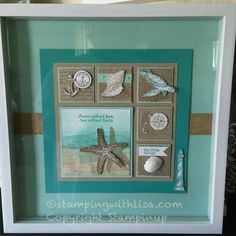 ORDER STAMPIN' UP! ON-LINE Stampin' Up! Stamping and scrapbooking classes, stamping clubs and events using all Stampin Up products. Box Frame Art, Shadow Box Frames, Nautical Cards, Nautical Anchor, Beach Cards, Paper Crafts, Diy Crafts, Marianne Design, Homemade Cards