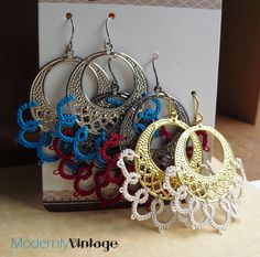 Modernly Vintage Tatted Earrings