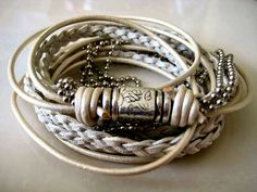 Boho Chic White Leather Wrap Bracelet with Silver Magnetic Clasp    by LeatherDiva, $41.00