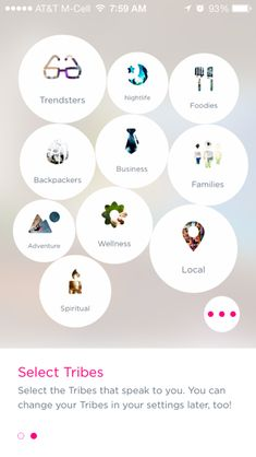 Likes: overview of 'My feed' what are my preferences and using the tag cloud feel to show greater weighting of activity within each preference