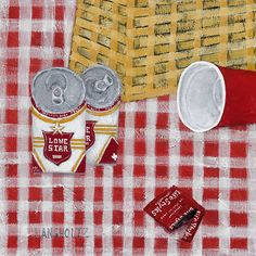Lone Star Picnic, 12x12, Acrylic and Charcoal Pencil on Canvas 2015 Gabe Langholtz