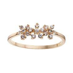 LC Lauren Conrad Triple Flower Ring Lauren Conrad Jewelry, Lc Lauren Conrad, Lc Jewelry, Fashion Jewelry, Crystal Flower, Feminine, Jewels, Engagement Rings, Crystals
