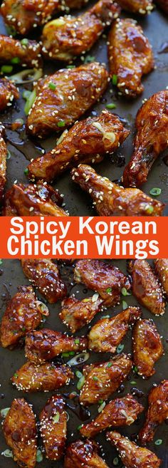 Spicy Korean Chicken Wings - crazy yummy baked Korean chicken wings with sweet and savory Korean red pepper sauce. Sauce Für Chicken Wings, Chicken Wing Sauces, Cooking Chicken Wings, Baked Chicken Wings, Chicken Wing Recipes, Sauce For Wings, Chicken Breasts, Fried Chicken, Spicy Korean Chicken
