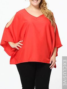 #BFCM #CyberMonday #Fashionmia - #Fashionmia Hollow Out Plain Batwing Chic V Neck Plus Size Tops - AdoreWe.com