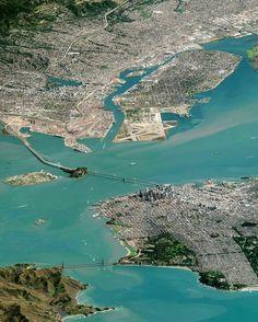 San Francisco Bay by DigitalGlobe #sanfrancisco #sf #bayarea #alwayssf #goldengatebridge #goldengate #alcatraz #california