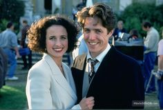 Four Weddings and a Funeral - Behind the scenes photo of Hugh Grant & Andie MacDowell