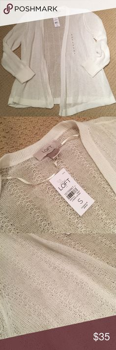 NWT Loft cardigan White, knit sweater, 100% sweater! LOFT Sweaters Cardigans