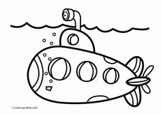 submarine transportation coloring pages for kids printable free - Submarine Coloring Pages Print