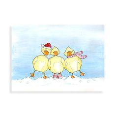 Kerstkaart met illustratie van Illu-Straver.  Drie lieve winterse kersteendjes in de sneeuw.