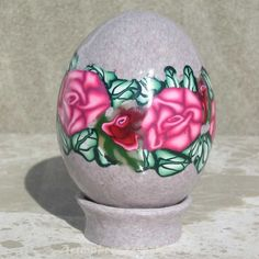 Red Roses Polymer clay egg | ArtmakersWorlds - Housewares on ArtFire