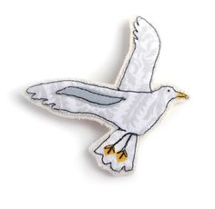 Fabric seagull brooch. Textile sea bird in flight jewellery, hand made by free motion machine embroidery. By Days In Design/Chloe Rafferty. £10.50 each. Click for more info!
