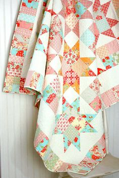 Marmalade Star Quilt  Lap Quilt for Two or by CottonBerryQuilts, $350.00