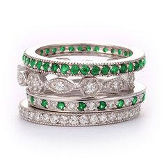 SusanB.Designs Simulated Diamond and Emerald Stackable Bands Set of 4 Rings Sterling Silver