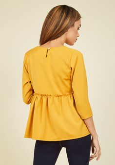 Do you love a fluttering hem, a subtle hint of femininity, and stylish sweetness? Then, this golden top is a must-have! The exposed, ruffled seam of this. Ruffle Top, Ruffle Blouse, Femininity, Modcloth, Must Haves, Peplum, Sewing, Stylish, How To Make