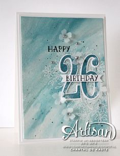 Card made with the watercolour technique in Island Indigo and Pool Party ~ Chantal de Kaste