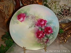 Haviland - Limoges - France - Plate - Hand Painted - Crimson ROSES - from onlyfinelines on Ruby Lane