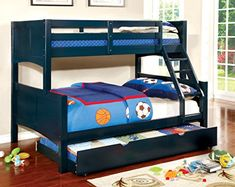 Furniture of America Bahari  Bunk Bed with Trundle, Twin/Full, Blue
