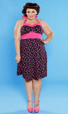 The Nellie Halter with pink cherries is part of our SWAK Designs Curvy Kitten collection of retro plus fashion!  Out of stock for now...