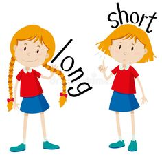 Opposite adjectives long and short illustration Stock Vector - 46508958 Opposite Words For Kids, English Opposite Words, Learn English Words, Opposites For Kids, Opposites Preschool, English Lessons For Kids, Kids English, English Adjectives, English Vocabulary