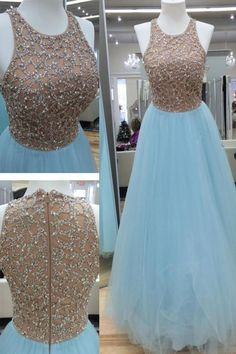 Light blue organza sequins round neck long evening dresses,cute A-line dress,prom dress Red Chiffon, Beaded Chiffon, Indian Gowns Dresses, Evening Dresses, Sexy Dresses, Ladies Dresses, Nova Dresses, Pretty Dresses, Indian Designer Outfits