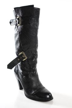 Carvela Black Pebbled Leather Round Toe Buckle Detail Mid-Calf Boots Size 36 6 #Carvela #MidCalfBoots