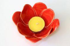 Red flower ceramic bowl Appetizer plate Tapas bowl by TzadSheni