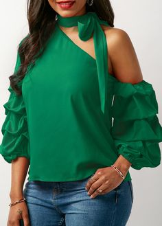 Layered Sleeve Green Tie Neck Blouse | Rosewe.com - USD $30.49