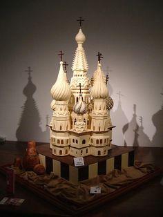 Castle chocolate sculpture in white