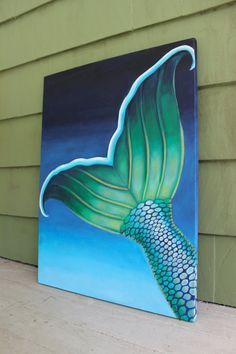 """""""Ariel's Tail"""" A colorful mermaid tail with shimmery scales- an acrylic painting on gallery wrapped canvas. Size: by Stretched Canvas Artist: Liza Hanson The painting is signed by the artist on the front and dated on the back. Rock Painting Ideas Easy, Diy Painting, Painting & Drawing, Mermaid Art, Mermaid Paintings, Mermaid Tails, Mermaid Room, Vintage Mermaid, Manga Mermaid"""