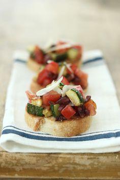 Jenny Steffens Hobick: Tomato, Zucchini and Olive Bruschetta | Fresh Summer Party Food