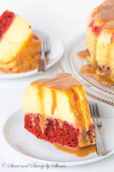 Magic Red Velvet Flan Cake