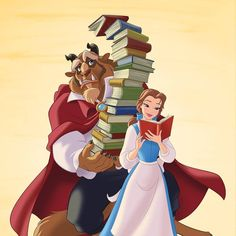Belle and the Beast with a lot of books Disney Films, Disney Cartoons, Disney And Dreamworks, Disney Pixar, Disney Princess Belle, Princesses Disney Belle, Disney Beauty And The Beast, Disney And More, Disney Kunst