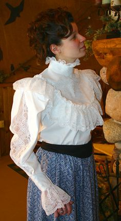 Charlene Victorian Blouse - Full Sleeve Victorian Blouse Source by FrauDottora - Modern Victorian Fashion, Edwardian Fashion, Victorian Shirt, Victorian Era, White Lace Blouse, Beautiful Blouses, Costume, Historical Clothing, Look