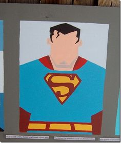 DIY Superman art on canvas for a little boy's room.