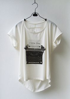Typewriter  Scoop Neck Tank Top Tshirt in Cream/ by InfinitStyle