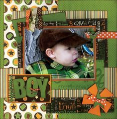 Boy page.  Hard to find designs without swirls, ribbons, and flowers.