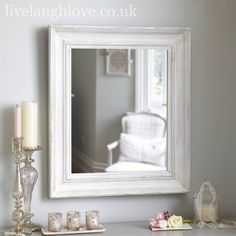 Large Rectangle Mirror Antique White.  A pretty vintage style mirror, painted and distressed for a rustic French look...