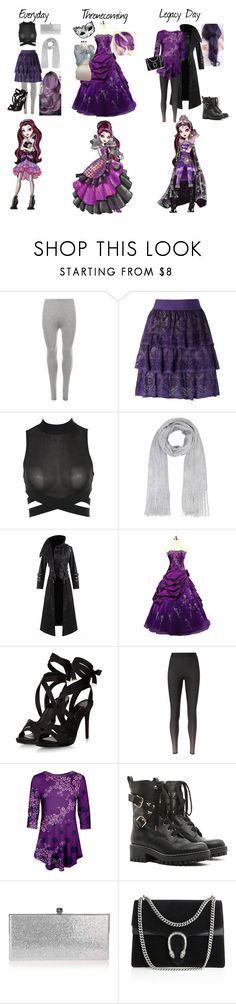 """Raven Queen"" by amayahawthorn on Polyvore featuring WearAll, Cecilia Pradomurion, Hooded Trench, Ultracor, Azalea, RED Valentino, Jimmy Choo and Gucci"
