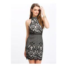 SheIn(sheinside) Black Mock Neck Keyhole Lace Bodycon Dress ($27) ❤ liked on Polyvore featuring dresses, black, sleeveless dress, bodycon pencil dress, short lace dress, lace pencil dress and bodycon dress