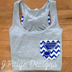 St. Louis Blues Tank Top with bow $25 J.Paige Designs jpaigedesigns13@gmail.com