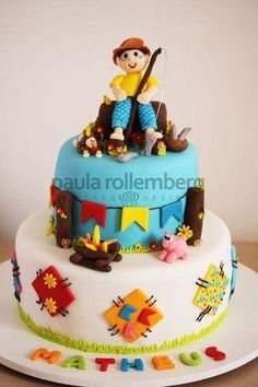 Bolo do Chico Bento Cakes For Boys, Biscuits, Projects To Try, Birthday Cake, Baby Shower, Party, Desserts, Chico Bento, Food