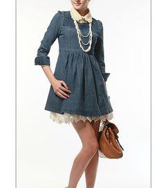 Autumn Women's jeans dress long sleeve