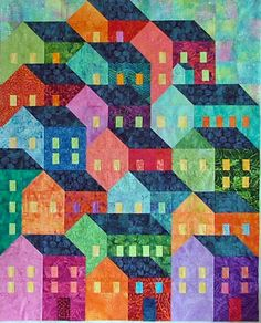 Quilt Crossing: September 2015 Name of pattern is Hillside Houses - pattern can be bought on Craftsy House Quilt Patterns, House Quilt Block, Colchas Quilt, Quilt Blocks, Quilt Top, Quilting Projects, Quilting Designs, Embroidery Designs, Quilt Modernen