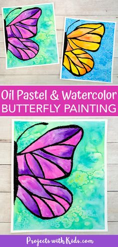 This beautiful watercolor butterfly painting combines oil pastels and watercolors. Kids will learn easy watercolor techniques to create this wow-worthy art! Oil Pastel Drawings Easy, Easy Flower Drawings, Oil Pastel Art, Oil Pastels, Flower Drawing For Kids, Butterfly Painting Easy, Butterfly Drawing, Butterfly Watercolor, Butterfly Kids